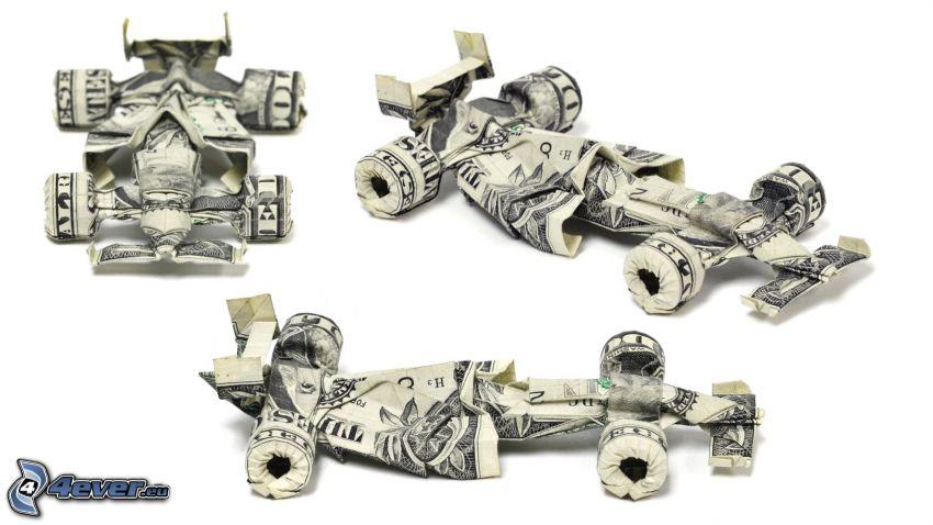 origami, billetes, dólares, fórmula