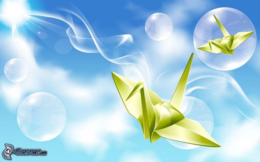 origami, cisnes, burbujas, fondo azul