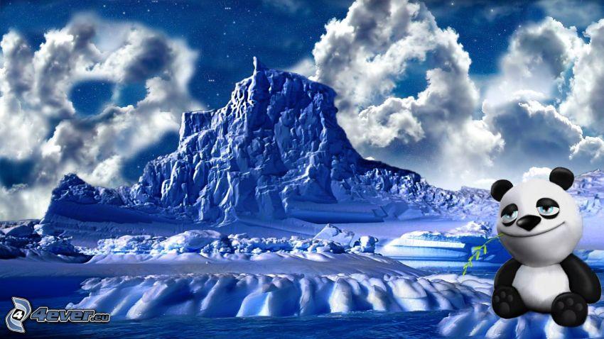 paisaje de invierno, oso de peluche, nubes