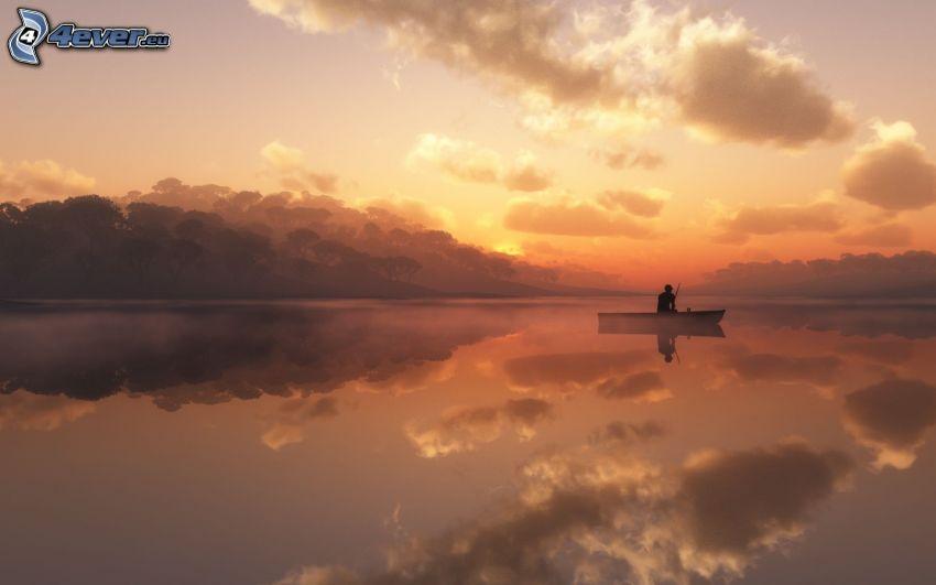 pescador, puesta del sol, nivel de aguas tranquilas