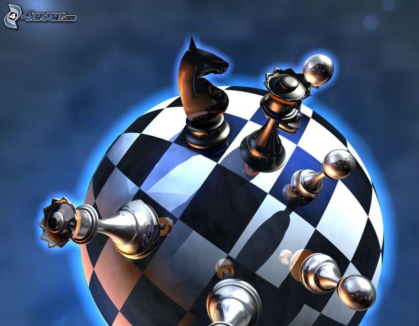 piezas de ajedrez, bola, tablero de ajedrez