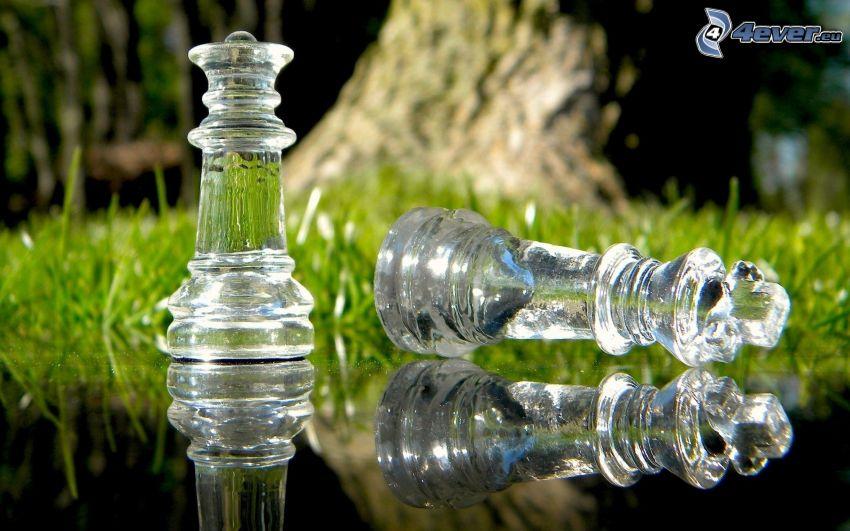piezas de ajedrez, vidrio, césped