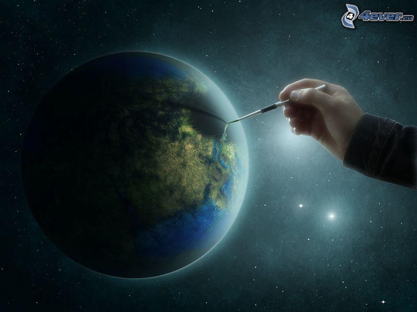 Planeta Tierra, mano, pincel