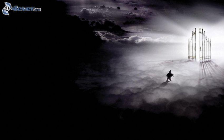 puertas del cielo, luz, figurita, nubes