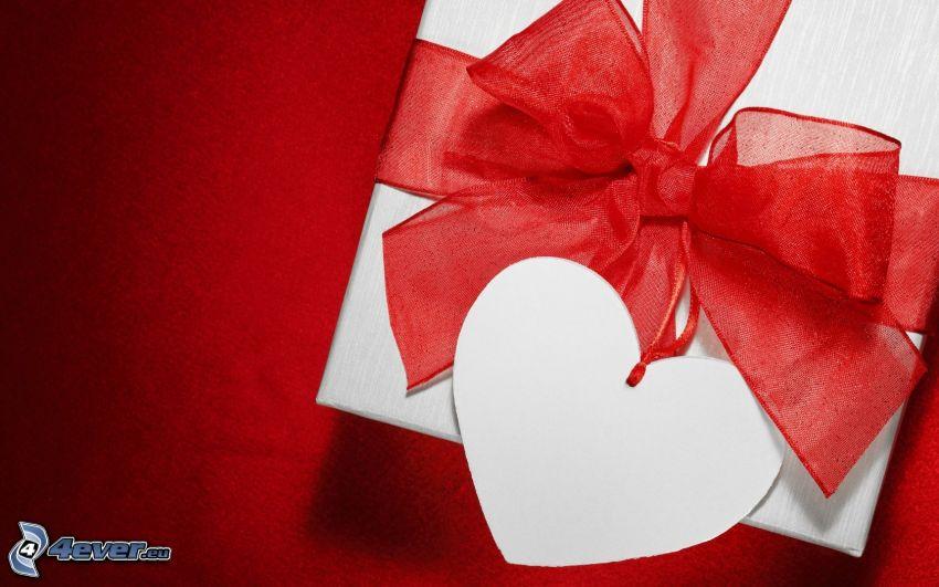 regalo, moña, cinta, corazón