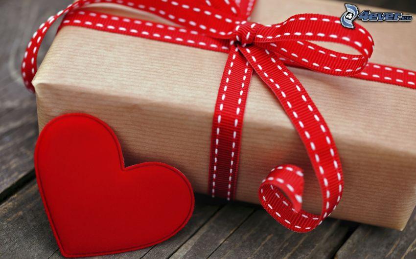 regalo, moña, cinta, corazón rojo