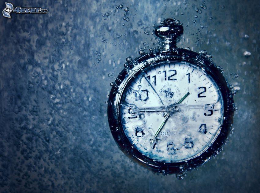 reloj histórico, agua, burbujitas