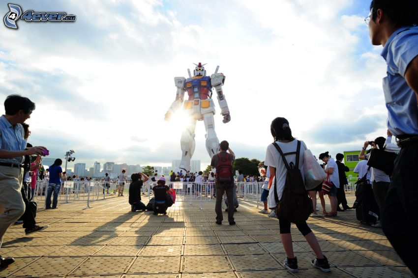 robot, extraterrestre, plaza, sol
