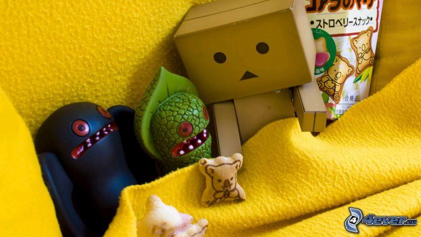 robot de papel, caracteres