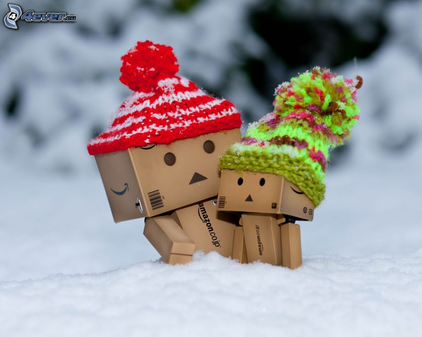 robot de papel, gorro, nieve