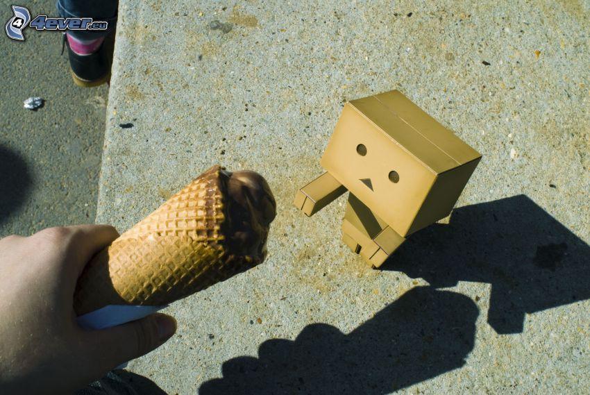 robot de papel, helado