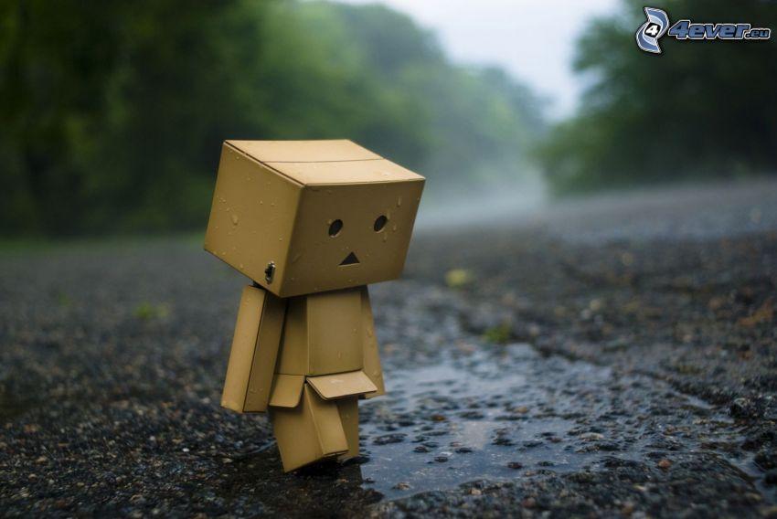 robot de papel, lluvia