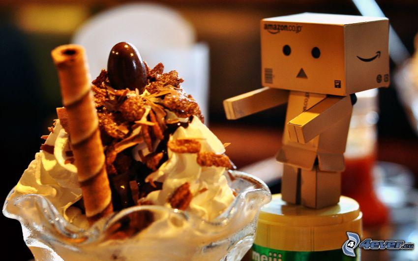 robot de papel, nata, tubitos dulces