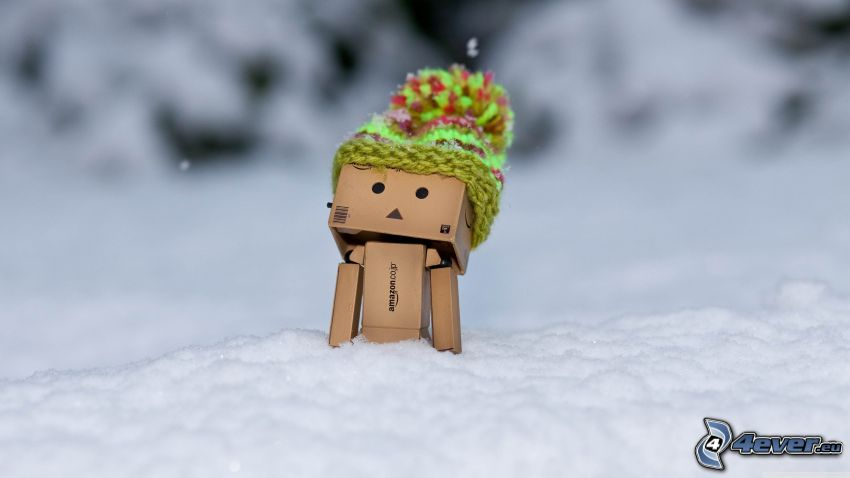 robot de papel, nieve, gorro