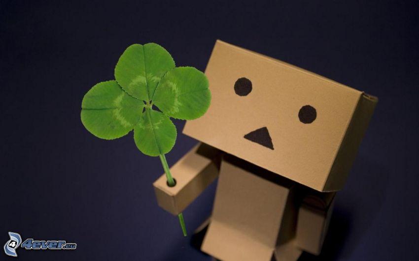 robot de papel, trébol de cuatro hojas