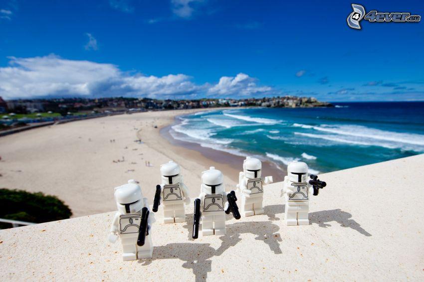 robots, caracteres, mar, playa