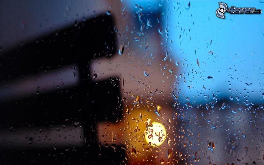 rocío en vidrio, gotas de agua, banco