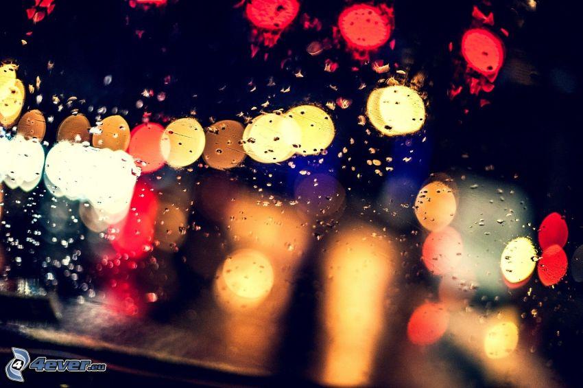 rocío en vidrio, luces