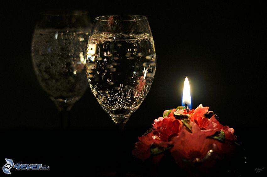 romántica, champán, vela, llama