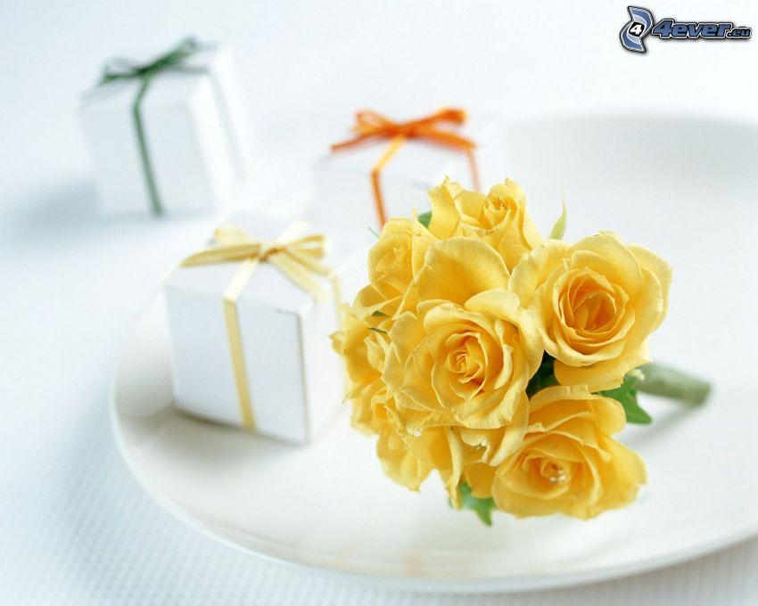 rosas amarillas, regalos