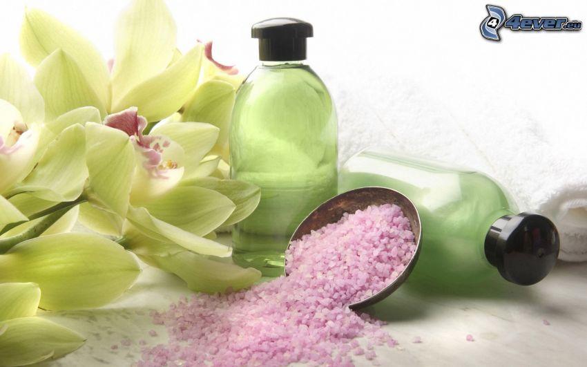 sal de baño, orquídeas, botellas