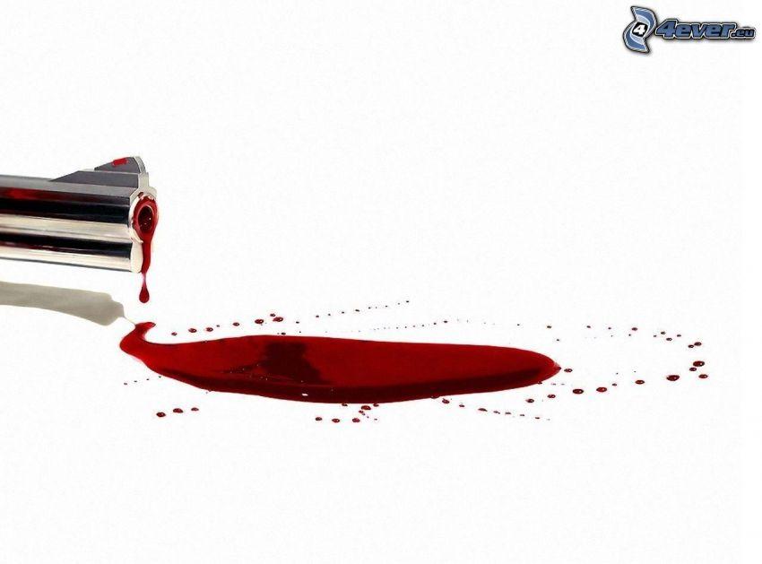 sangre, cañón de la pistola