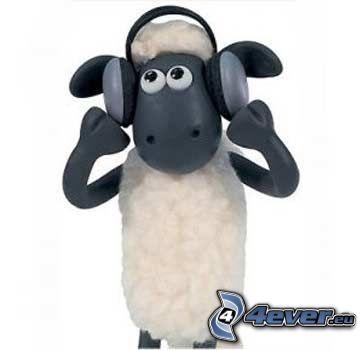 Shaun, oveja, auriculares, peluche
