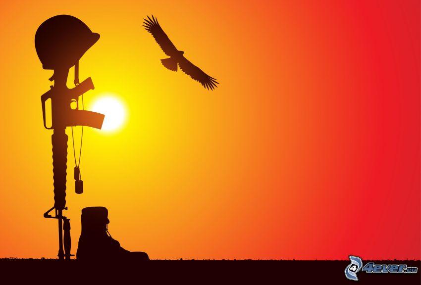 siluetas, arma, águila, puesta de sol anaranjada