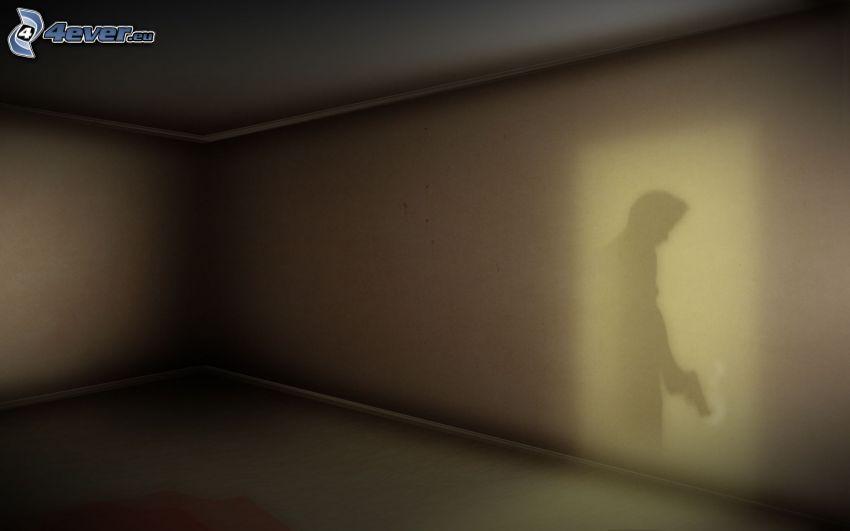 sombra, hombre con arma, pared