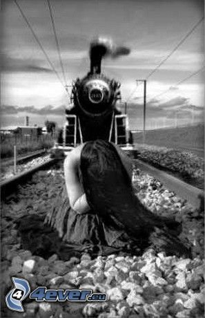 suicidio, tren de vapor, chica en los rieles