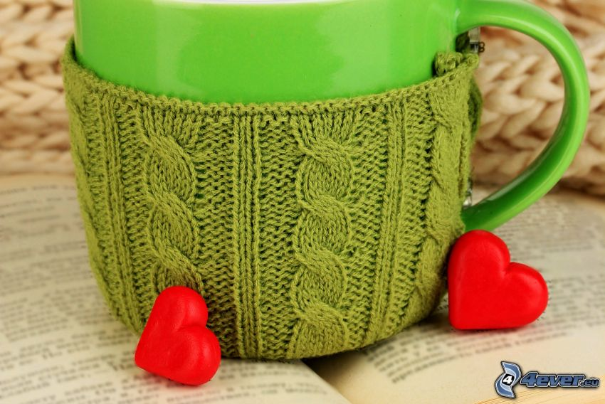 taza, corazones, lana, libro