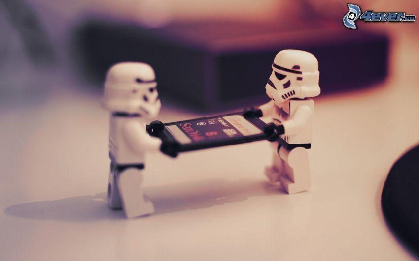 títeres, Lego, Tarjeta SD, Stormtrooper