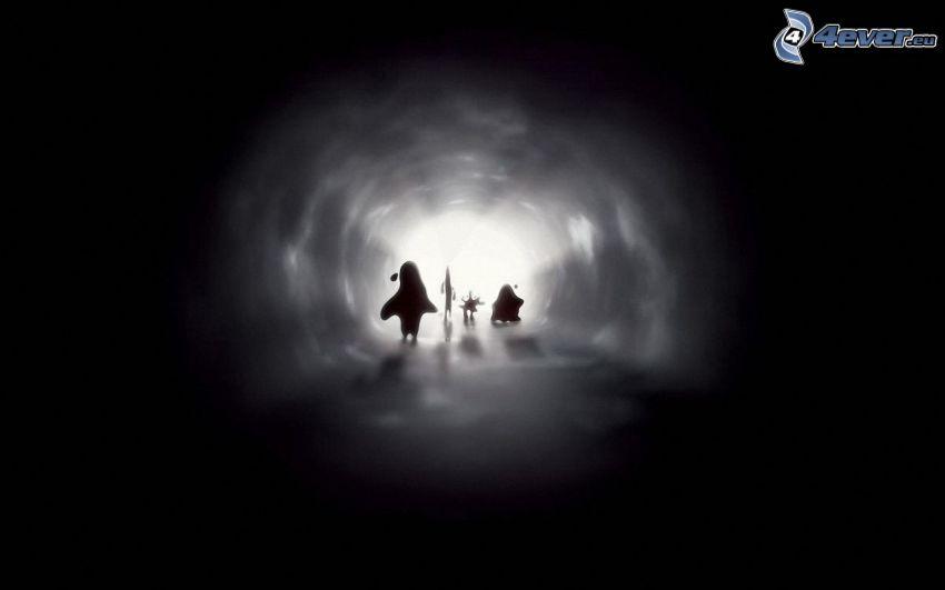 túnel, caracteres, siluetas, luz