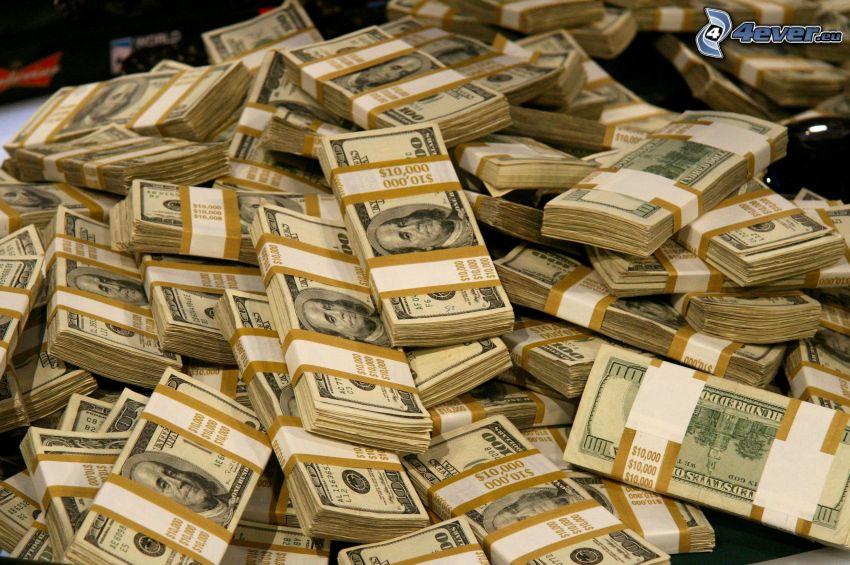un montón de dinero, dólares