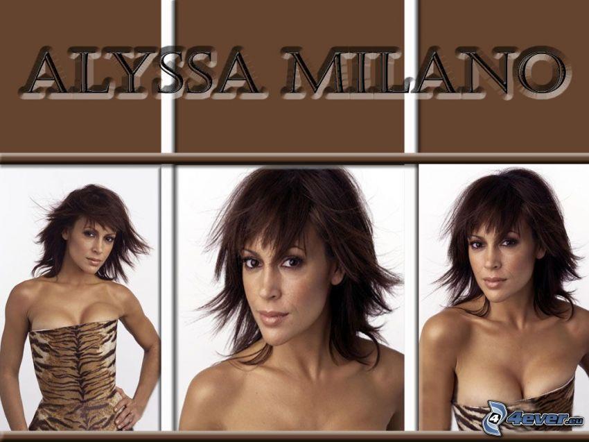 Alyssa Milano, actriz, Phoebe, brujas, Charmed, mujer de pelo castaño, diseño de leopardo
