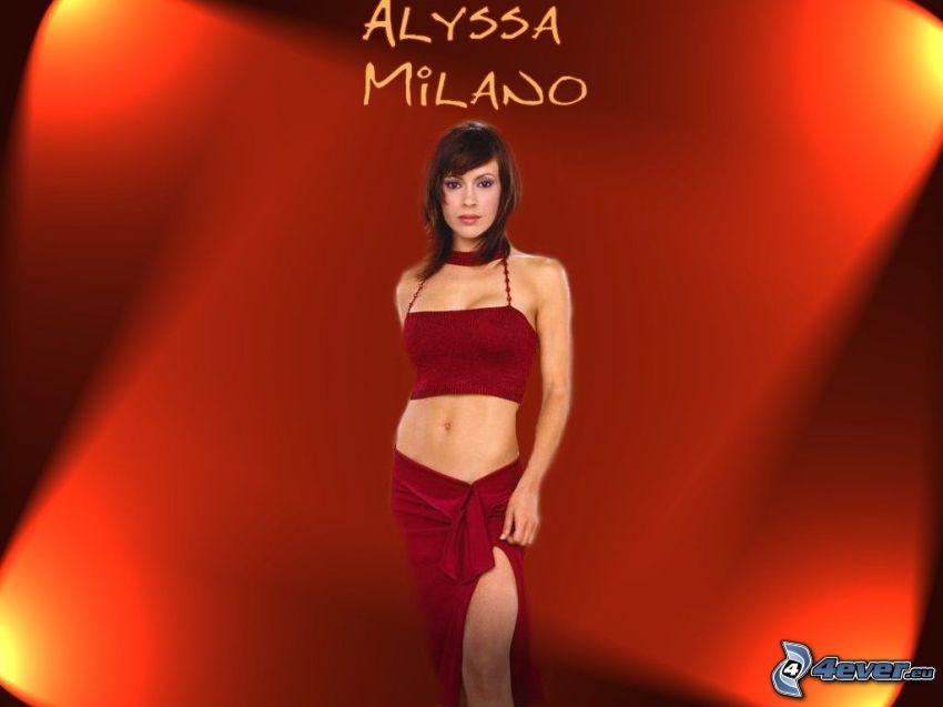 Alyssa Milano, actriz, Phoebe, brujas, Charmed, mujer de pelo castaño, falda roja, camiseta