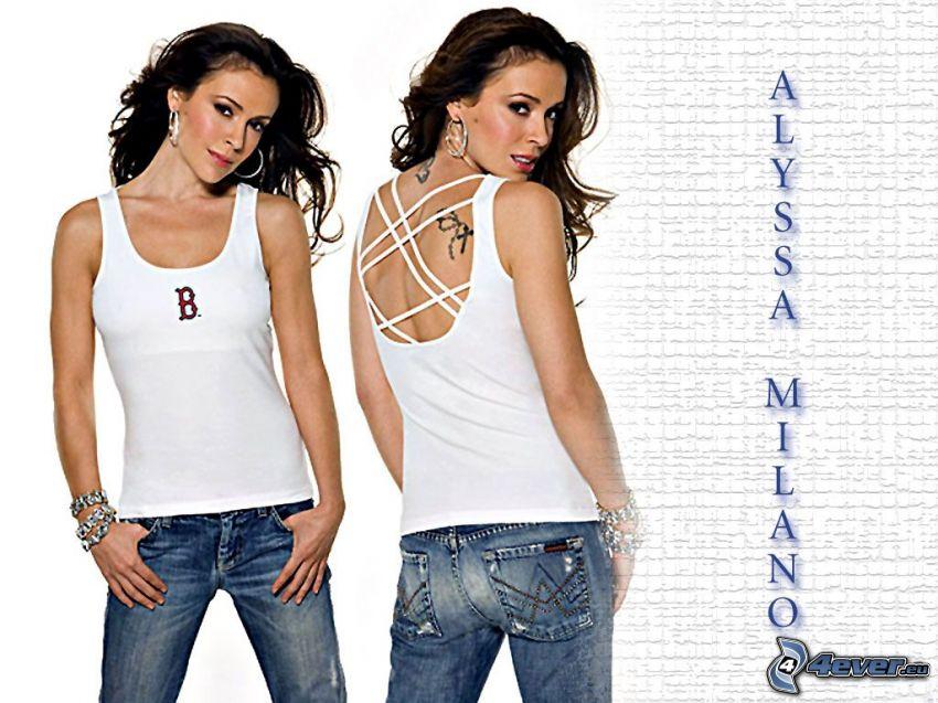 Alyssa Milano, actriz, Phoebe, brujas, Charmed, mujer de pelo castaño, vaqueros, camiseta blanca, pendientes, pulseras
