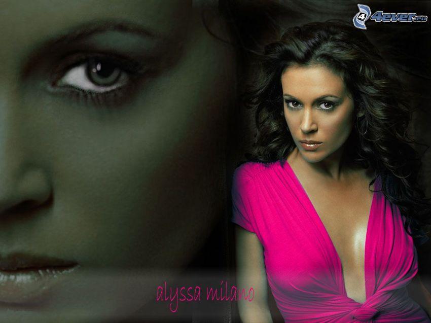 Alyssa Milano, actriz, Phoebe, brujas, Charmed, mujer de pelo castaño, vestido de color rosa
