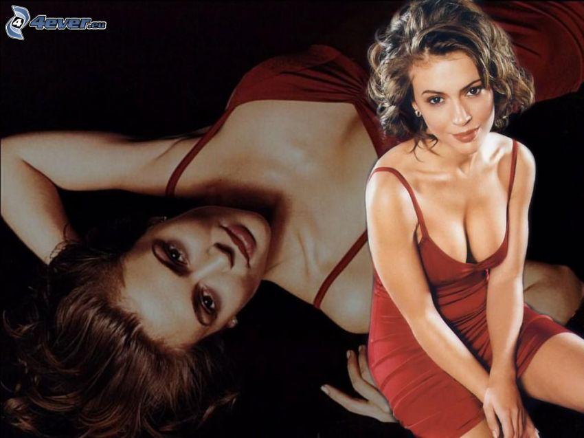 Alyssa Milano, actriz, Phoebe, brujas, Charmed, mujer de pelo castaño, vestido rojo