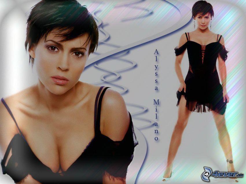 Alyssa Milano, actriz, Phoebe, Charmed, mujer de pelo castaño, vestido negro