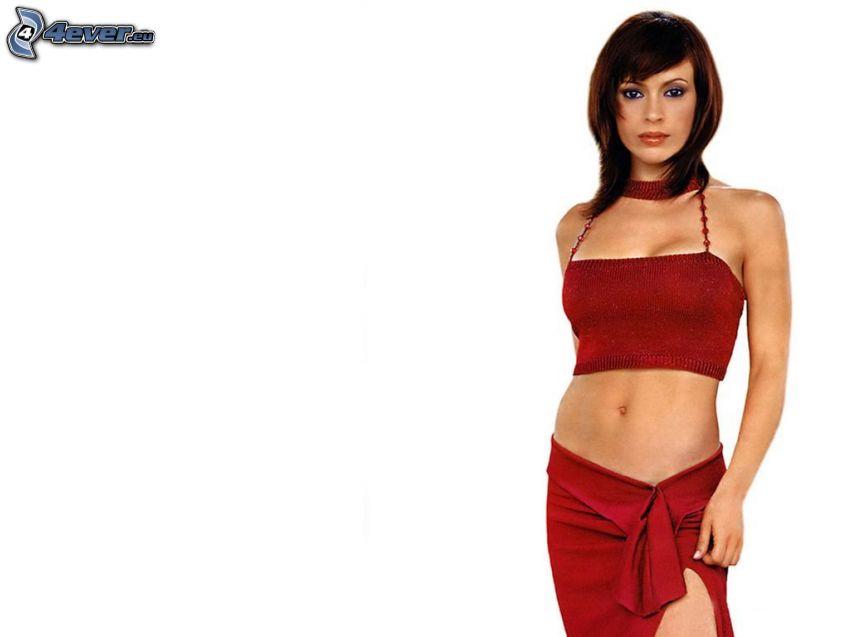 Alyssa Milano, falda roja, collar