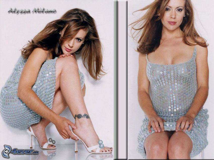 Alyssa Milano, Phoebe, Charmed, mujer de pelo castaño, vestido de lentejuelas, vestido brillante, tatuaje en el pie