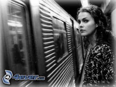 chica, metro, vagón