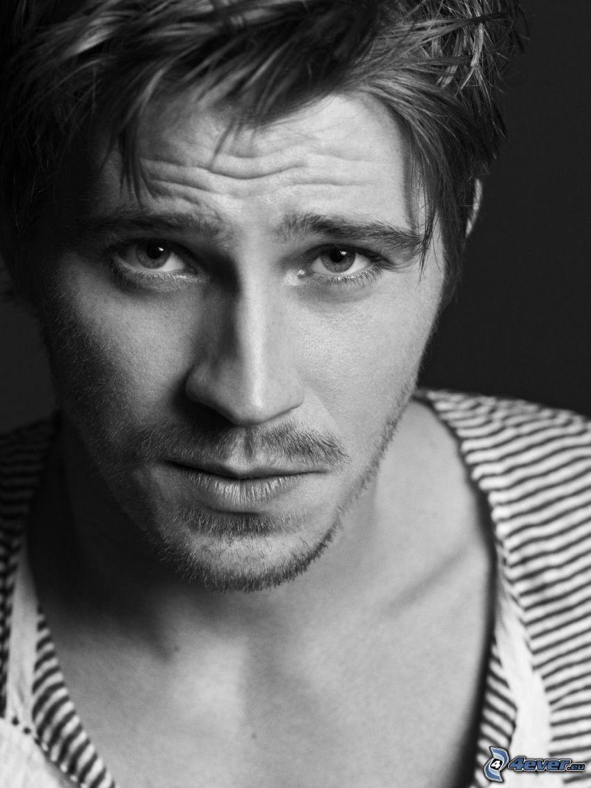 Garrett Hedlund, Foto en blanco y negro, mirada