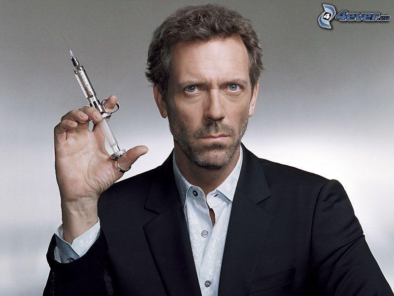 Hugh Laurie, inyección, hombre en traje