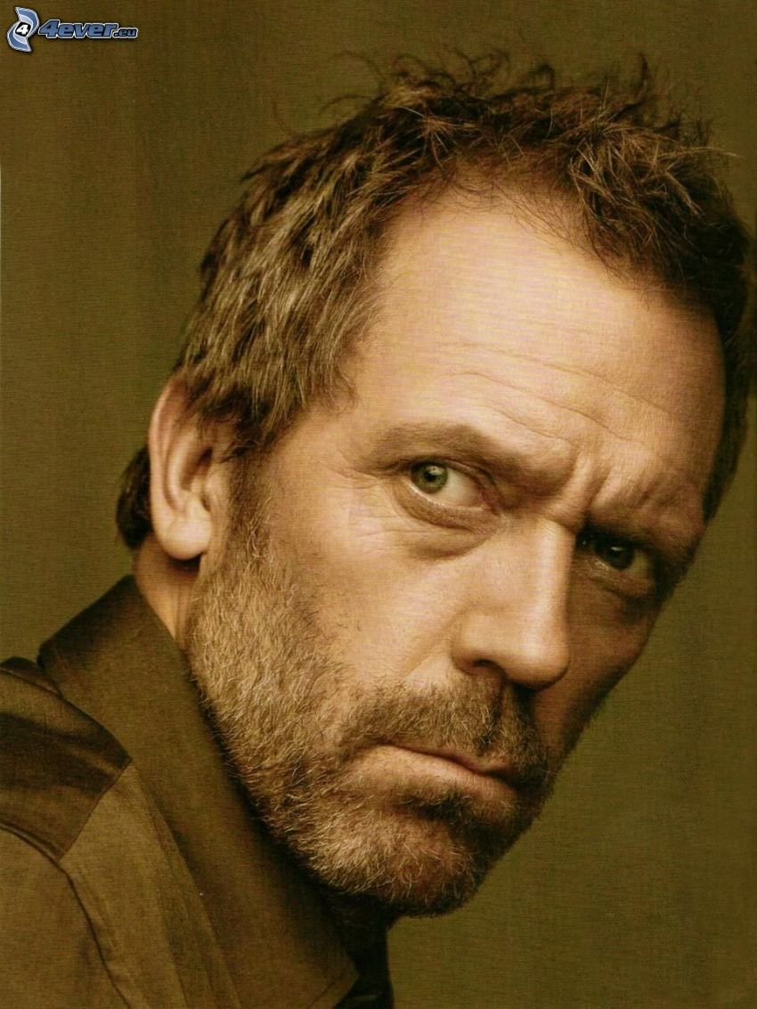 Hugh Laurie, mirada, sepia