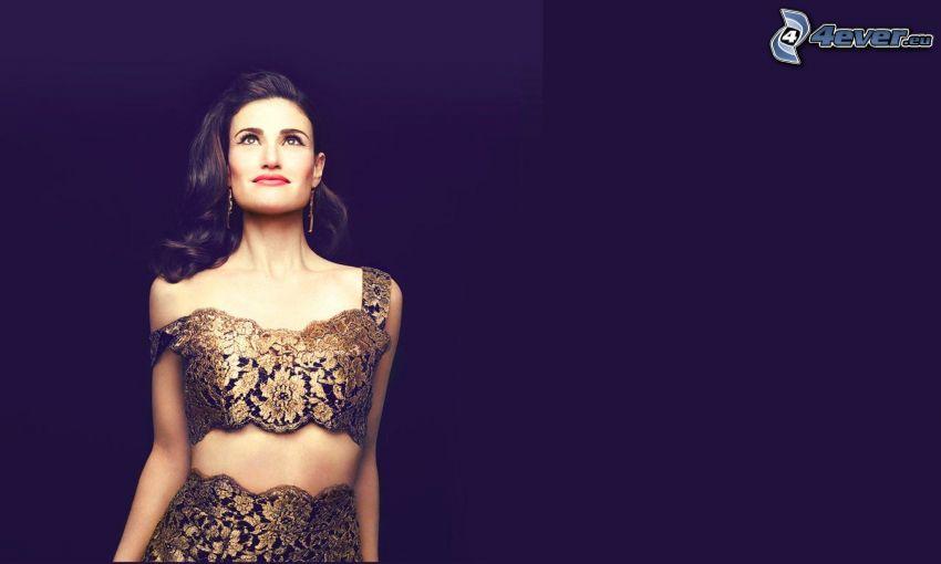 Idina Menzel, vestido de oro