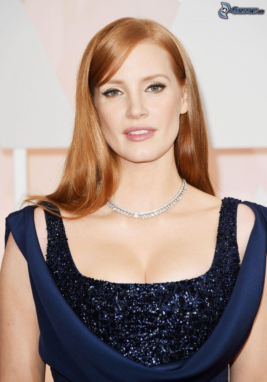 Jessica Chastain, vestido azul