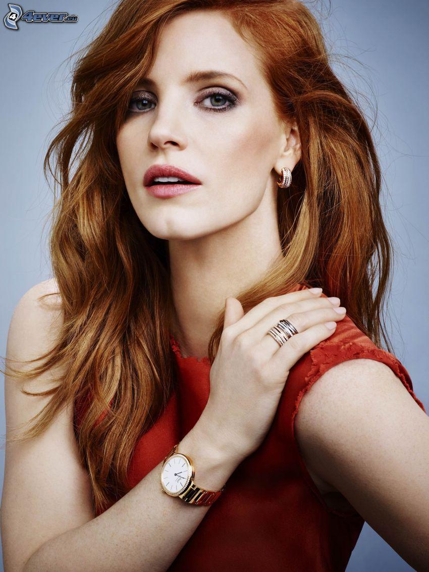 Jessica Chastain, vestido rojo