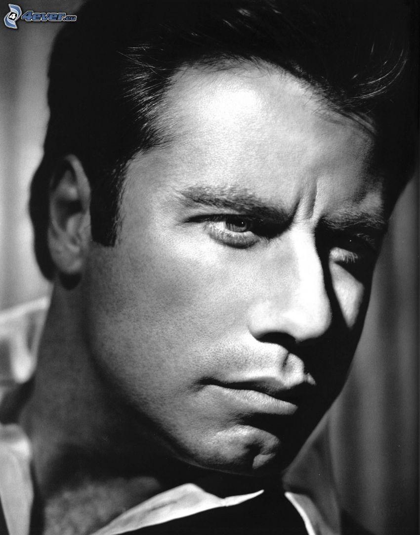 John Travolta, de jóvenes, Foto en blanco y negro